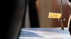 Golden key to LOVE idea. Stock Footage