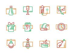 New Year and Christmas color line vector icons Stock Illustration