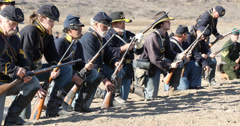Blue and Grey Civil War Reenactment Union Soldiers Firing Stock Footage