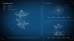 Looping, animated orthographic engineering blueprint of Magellan spacecraft.  Stock Footage