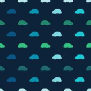 Silhouettes colored cars clouds seamless vector pattern - stock illustration