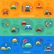 Traffic Violation Banner Set Stock Illustration