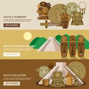Maya Banner Set - stock illustration
