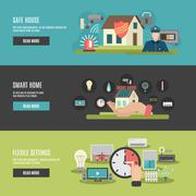 Smart home 3 flat interactive banners Stock Illustration