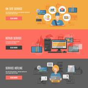 Computer repair flat interactive horizontal banners Stock Illustration