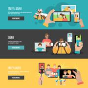 Selfie flat interactive horizontal banners set Stock Illustration