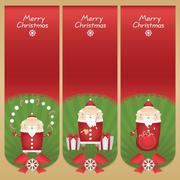 Stock Illustration of Set vector cartoon banners with flat icons Santa Claus with snowballs, candy