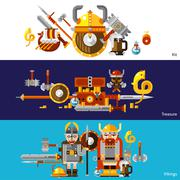 Viking Banners Set - stock illustration