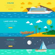 Nautical travel concept horizontal banners set - stock illustration