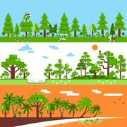 Coniferous Deciduous Tropical Forest Banners - stock illustration