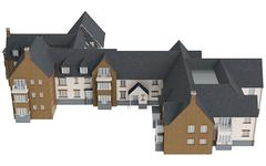 Two storey cottage, top view - stock illustration
