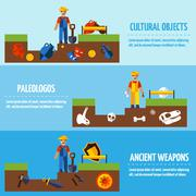 Flat Color  Archeology Banners Set - stock illustration