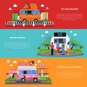 Stock Illustration of Street Food Banners Set