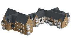 Stock Illustration of House villa with tile roof, top view