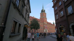 Beautiful building of the Royal Castle seen from Swietojanska street, Warsaw Stock Footage