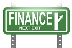 Finance green sign board isolated Stock Illustration