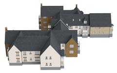 House mansion with tile roof, top view Stock Illustration