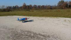 Thunderbolt P-47 RC airplane landing Stock Footage