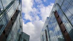 Clouds reflected in mirrored walls - stock footage