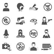 Allergy Icons Black - stock illustration