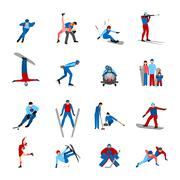 Winter Sportsmen Set - stock illustration