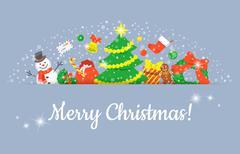 Christmas Symbols Background Horizontal Header Banner Stock Illustration