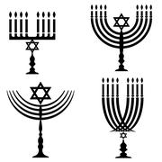 Set of Menorah Silhouettes Piirros
