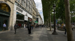 Famous shops on Avenue des Champs-Elysees, Paris Stock Footage