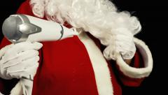Santa Claus with a hairdryer Stock Footage