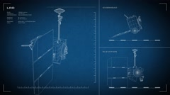 Looping, animated orthographic engineering blueprint of LRO spacecraft - stock footage