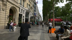 Sephora cosmetics store and Marriott Hotel on Champs-Elysees, Paris Stock Footage