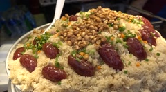 Glutinous sticky rice and canton sausage peanut close up Stock Footage