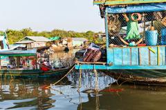 Slums in Cambodia - stock photo