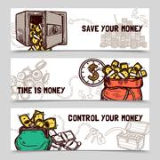 Time management financial banners set doodle Stock Illustration