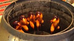 roast chicken in grate,canton cuisine - stock footage