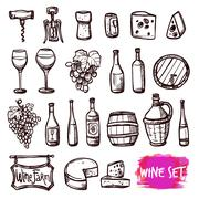 Wine black doodle icons set Stock Illustration