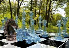 Chess board game competition in forest garden - stock illustration