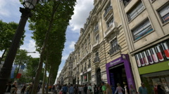 Marionnaud store, near Yves Rocher beauty salon on Av. des Champs-Elysees, Paris Stock Footage