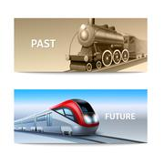 Train Banner Set - stock illustration