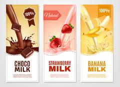 Sweet Milk Banners Set - stock illustration