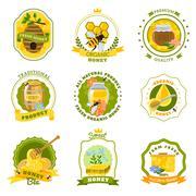 Honey Emblems Set - stock illustration