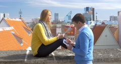 Tourists on the Roof in Tallinn Stock Footage