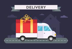 Delivery vector transport truck, van with gift box pack - stock illustration