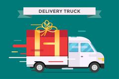 Delivery vector transport truck, van with gift box pack Stock Illustration