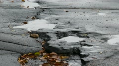 bad asphalt rain tarmac pits in pool of floating leaves are falling splashing - stock footage