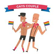 Homosexual gay people couple vector - stock illustration