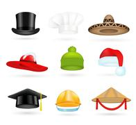 Set of 3d top hats different proffesions Stock Illustration