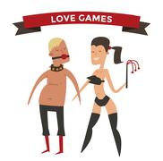Sadism woman and man cartoon vector illsutration Stock Illustration