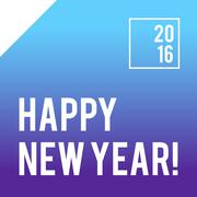 Blue square New Year card design with gradient - stock illustration