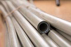 Plastic pipes macro - stock photo